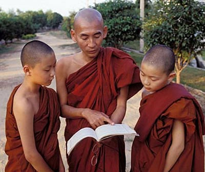 Novice monks at the Panditarama Forest Meditation Center in Burma